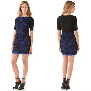 Tibi Blue and Black Lace Overlay Dress Size 0